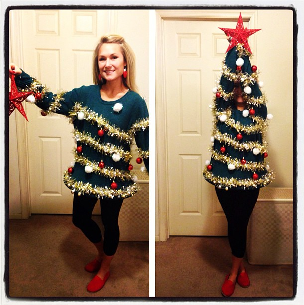 Charming Ugly Christmas Sweaters Party Ideas Part - 12: Miley Cyrus Wrecking Ball Santa Sweater DIY Ugly Christmas Tree Sweater ...
