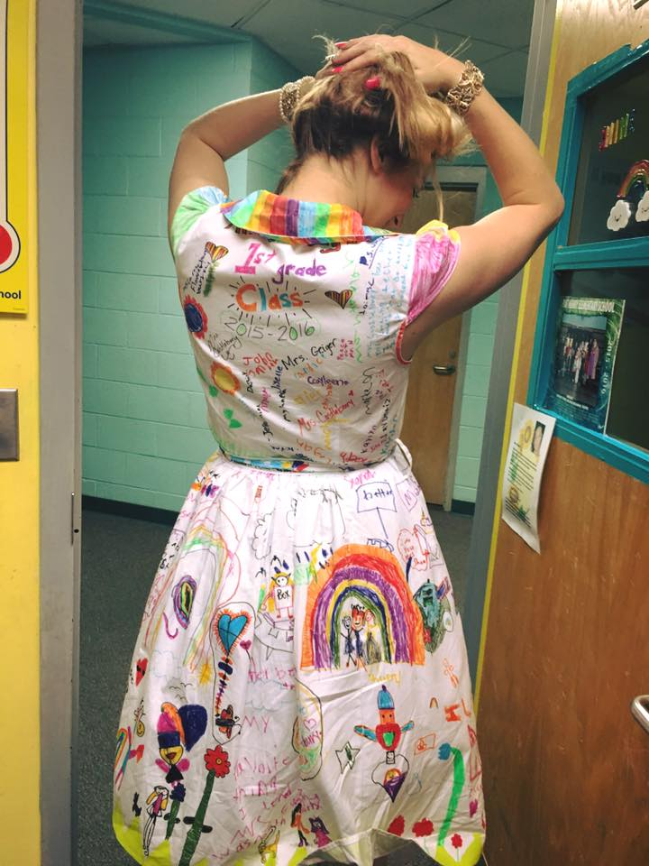 End of year teacher dress made by kids